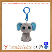 Good-looking and pleasing lifelike animals shaped plush stuffed toy little elephant keychain 2015 cute design