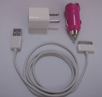 3 in 1 usb home and car charger and usb data cable set for smartphone
