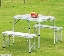 Portable Folding Aluminium Table with 2 Bench Chair Seat Picnic Camping Set