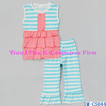 Latest Design Baby Clothes Cute Children Blue Stripe Ruffle Tank Top Ruffled Pants Outfit Sets for Girls IM-CS044