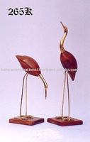 Brass & Wooden Crane Pair antique crane pair, wooden crane sculpture, Crane figure