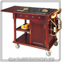Top Grade Luxury Cooking Trolley Wooden Hotel Cook Food Trolley With Double Gas Stoves For Banquet And Party