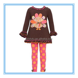 yowo cartoon embroidery design for kids clothes thanksgiving clothes girls orange polka dots children's boutique clothing sets
