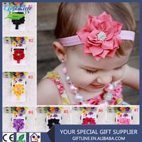 2015 Fashional Baby Headband With Big Doule Lotus Leaf Flower Baby Elastic Hairband