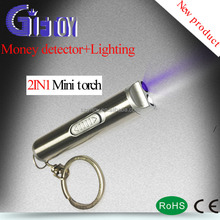 Top Quality Customized Promotions stainless steel tube Mini Led Flashlight, 2 in 1 features black light and white light.