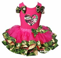 Hot Pink Camo Satin Trimmed Tutu with My Hero My Daddy Heart Hot Pink Tank Top