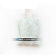 Pure color customized small broken flower cheap cotton canvas beach bags wholesale