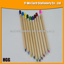 2014 Triangular Natural Jumbo Wooden Color Pencil With Top Dipped