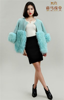 Pearl Lamb Fur Patched with Long Curly Lamb Fur Women New Design Lamb Fur Coat Jacket Garment
