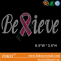 Believe pink RIBBON breast cancer awareness Iron on hot fix Rhinestone Transfer