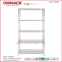 OW-WD02 Five Layers Chrome Display Wire shelving, Metal Steel Shelves, Storage Rack
