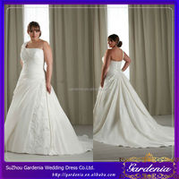 One Shoulder Lace-up Bodice Custom Made Plus Size Wedding Dress with Long Train