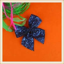 Decorative Navy bow applique with sequins and beads for dress/hair bow