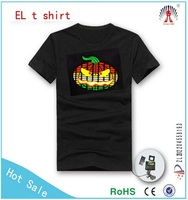HOT flash light up el shirt /flashpanel t shirt/flash t-shirt Pumpkin for Halloween