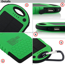 Portable 5000mah waterproof solar charger for mobile phone