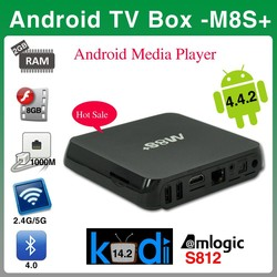 Factory price amlogic S812 quad core tv box M8S+ kodi 14.2 androd tv box M8S plus
