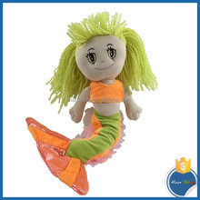SGS Soft Baby Plush Orange Mermaid Toys EN 71 Stuffed Mermaid Doll Big Eyes Yellow Long Hair Girl Doll For Children