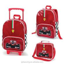 Bag manufacturer red color pvc emboss school bag set, boy schoolbag,school bag trolley