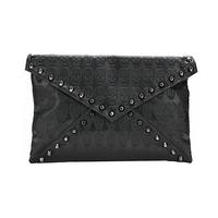 Women New Fashion Black Skulls Print Rivet Shoulder Bag, Day Clutches, Handbags, Message Bags 7591