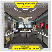 Top grade curved jewelry case display for modern jewelry showroom showcase design