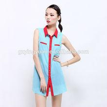 2015 nuevo estilo azul tela de nuevo recorte atractivo camisa larga para mujer