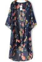 Blouses Tops fashion women girl clothes Blue Floral Crane Print Chiffon Kimono