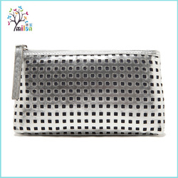 Beauty glitter silver pu leather hollow out brand fashion cosmetic bag