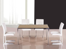 glass top steel pipe dining tables T002