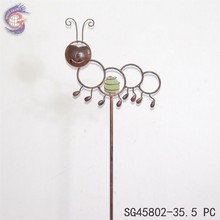 metal garden decoration glow in the dark caterpillar sticks