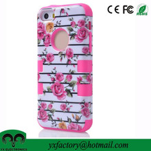 brand new phone case rose flower design 3 in 1 hybrid ulak pc tpu cases for iphone 5 case wholesale