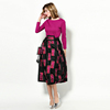 2016 new arrival fashion long sleeve eleagnt stylish printing pattern puff summer casual dress for mature women