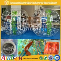 Crazy human bubble ball, inflatable bubble suits and bubble ball for football with comfortable handles and belts