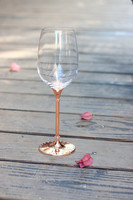 2015 new design lead free clear crystal 412ml drinking wine glass with rose gold stem