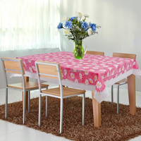 PVC/PEVA lace tablecloth with flannel backing & lace border
