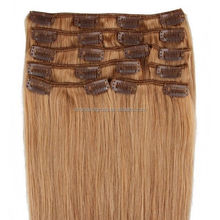 """7 PCS 100% Remy Real 5A Clip In Human Hair Extensions 22"""" Strawberry Blonde #27"""