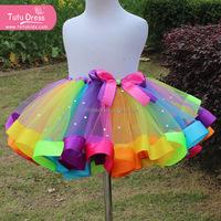 Free Shipping Fashion Design 2015 Beauty Beaded Rainbow Tutu Short Skirt For Kids Girl cheap skirt