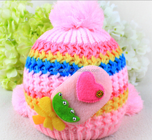 Double ball girl hat, stripe cap for girl, winter hot sale baby knitted cap