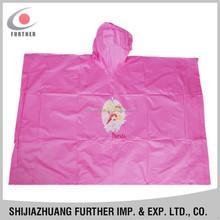 R-1020K-2005 promotional toxit free plastic portable good quality pink pattern children rain plus size sleeveless rain coat
