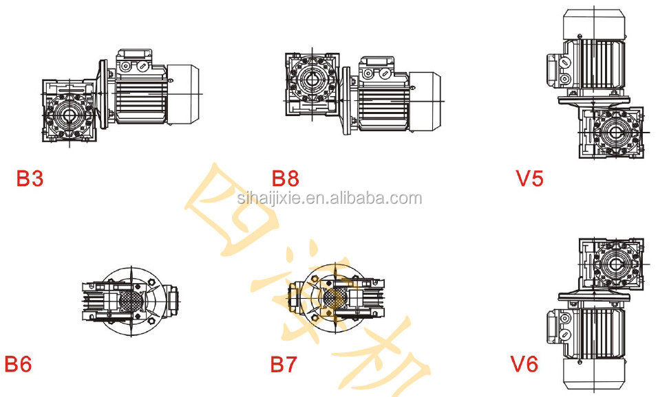 RV050 worm gearbox electric motor, electric motor gearbox