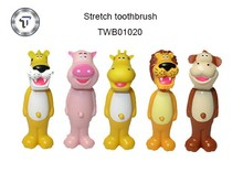 Children stretch out and draw back toothbrush, animal kids toothbrush, bounce up toothbrush