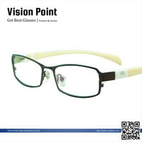 Fashion Men and Women Metal Full Rim Changeable Temple Eyeglasses Frame With Clear Lenses