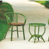 Colorful small rattan coffee chairs and table garden roots outdoor furniture