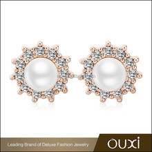 OUXI High quality fashion cheap fake pearl earrings made with AAA ziron