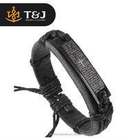 2016 New Arrival European Fashion Men Wristbands Punk Adjustable Cross Leather Bracelet