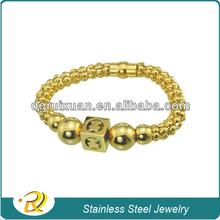 2013 venta caliente al por mayor joyas de acero inoxidable cadena magnética oso encanto pulseras brazalete de oro llena