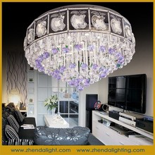 New design home lighting& round crystal chandelier with purple apple crystal beads for restaurants