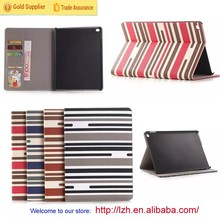 Stripe PU case for iPad 6, for iPad Air 2 Wallet Flip case made in China supplier