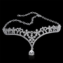 Sparkling Crystal Flower Gold Plated Tiara Wedding Bridal Tassel Headbands