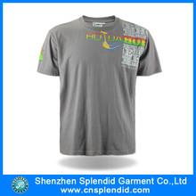 Fábricas de ropa in china de encargo de cuello redondo camiseta impresa