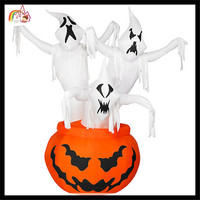 Three Ghosts and Pumpkin Inflatable Halloween Lawn Decoration